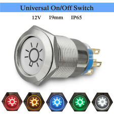 19mm 12V LED Stainless Push Button On/Off Dome Light Switch For Car Lorry Boat