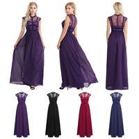 Damen Elegant Chiffon Brautjungfern Kleid Hochzeitskleid Abendkleid Maxikleid