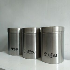 set of 3 silver stainless steel tea sugar coffee canisters kitchen storage tins