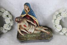 Antique Chalkware polychrome PIETA jesus christ statue religious group