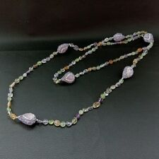 48'' Amethyst Citrine Prehnite Long Necklace