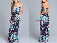 NAVY BLUE 25 FLORAL MAXI DRESS Strapless Jersey Long Full Length POCKETS S M L