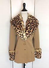 Vintage 1960s Lilli Ann Knit Jacket Genuine Rabbit Fur Leopard Print Collar Coat