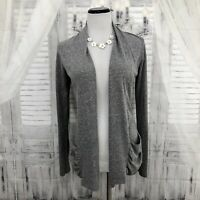 Maurices Small Heathered Gray Open Front Long Sleeve Pocket Cardigan Sweater B43