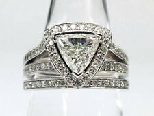 Certified 3.30Ct Trillion Cut Diamond Engagement Ring Band In 14k White Gold