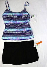 Captiva by Christina Skirted Tankini Underwire Size L/11,12 D cup  Retail $126