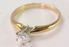 Six Prong Diamond Engagement Es 00004000 tate Ring 14K Yellow Gold 3/8 Ct Solitaire