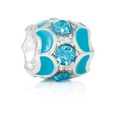 December Birthstone Blue Rhinestone Spacer Charm for European Bead Bracelets