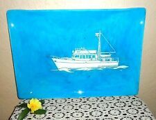 Vintage Nautical Ship Boat Serving Tray Art Wall Hanging Lovely Turquoise Aqua