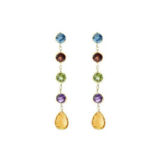 14K Yellow Gold Earrings With Multi-Colored Gemstones Dangle