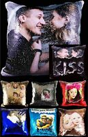 "Personalised Sequin Cushion Printed Photo Magic Reveal Mermaid Gift 16"" / 40cm"