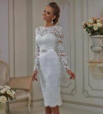 White Elegant Lace Wedding Dresses Short Long Sleeve Bridal Gowns Custom