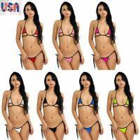 US Sexy Women Lingerie Set Swimwear Halter Bikini Top Micro Bra G-string bathing