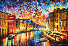 (LAMINATED) VENICE GRAND CANAL POSTER (91x61cm) LEONID AFREMOV PICTURE PRINT NEW