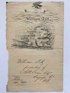 1850 West Point Hudson River Folk Art Drawing NY William Pitt 19th C Antique