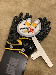 XL Black & Gold LB26 Pittsburgh Steelers Nike Superbad Football Gloves New