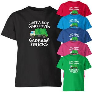 Just A Boy Who Loves Garbage Trucks Kids T Shirt Funny Birthday Boy Novelty Tee
