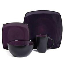 16 Piece Square Reactive Glaze Dinnerware Set Dinner Purple Cup Dishes Kitchen