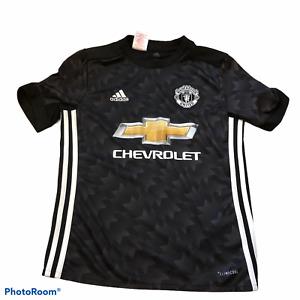 Adidas Manchester United Chevrolet Black T-Shirt Boy Size Medium Climacool