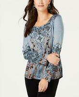 style & Co Womens Printed Rhinestone-Embellished Top Blouse. 100044539MS Blue M