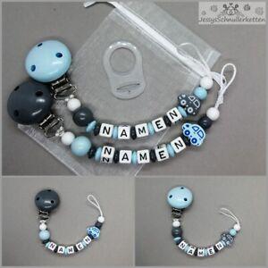 Schnullerkette mit Namen Jungen Auto Blau Taufe Babygeschenk Geburt Schnuller
