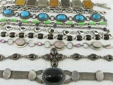 10 Preowned Sterling Silver 925 Bracelets with Stones, Other - 205 grams