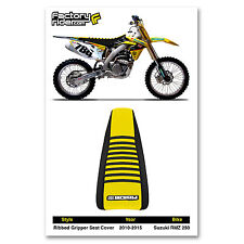2010-2017 SUZUKI RMZ 250 Black/Yellow/Black RIBBED SEAT COVER BY Enjoy MFG