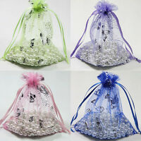 25/50/100Pcs Silver Butterfly Organza Pouch Wedding Favors Gifts Bags 9x7/12x9cm
