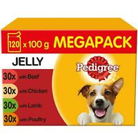 120 x 100g Pedigree Adult Wet Dog Food Pouches Mixed Selection in Jelly!