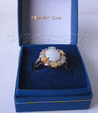 9 ct Y/GOLD SOLITARE OPAL AND DIAMOND  (GH-SI) 1.8 X 1.6 CEN SIZE N USED