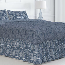 Carolina Linens Gathered Bedskirt in Spirit Regal Navy Blue Oriental Toile