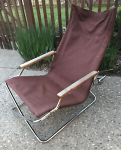 Vintage Shigeru Uchida Z Chair Folding Canvas Chair Chrome Brown Japan *As is