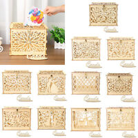 Sweet Carving Wooden DIY Wedding Case Supplies Card Holder Money Box Craft Gift