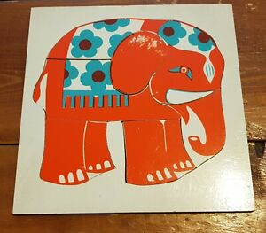 Vintage Wooden 1970s Elephant Wooden Puzzle Jigsaw