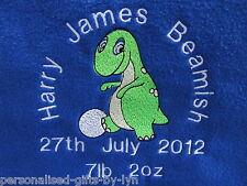 Personalised Baby Blanket, Dinosaur design in a choice of 7 colours
