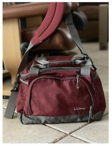 Vtg LL Bean Medium Burgundy & Gray Duffle Travel Bag Shoulder Strap Clean! 0DCR2