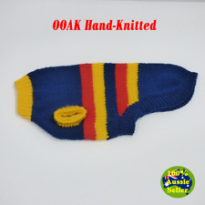 Hand-Knitted Dog Jumper Coat. Adelaide Crows Footy Colours