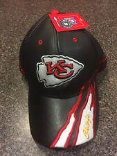 BRAND NEW KANSAS CITY CHIEFS ADJUSTABLE LEATHER BASEBALL CAP NFL