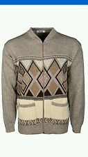 Mens Cardigan Full Front Zip Classic Style beige  size large