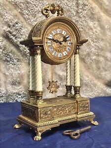 Antique Germany Key Wound Striking Clock,rare Brass Bronze Case,with 4 Column
