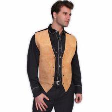 Scully Men's Satin Back Suede Boar Bourbon Snap Vest 504-409- SIZE LARGE