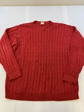 LL BEAN MEN SIZE 2XL TALL RED 100% COTTON CABLE KNIT SWEATER EUC