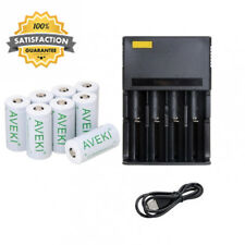 650mah 3.7v Cr123a 16340 Li-ion Rechargeable Battery +4 Slots Charger, AVEKI...