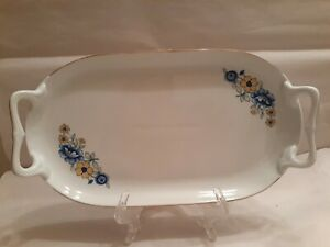 """Vintage Porcelain Tray, 10"""" Tray With Handles, Floral"""
