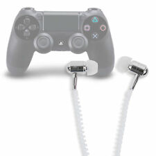 In-Ear 'Anti Tangle' Zip Earphones in White for Sony Playstation DualShock 4