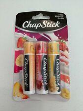 ChapStick (3 Sticks) Peaches, Strawberry and Bananas and Cream Flavor Lip Balm