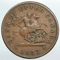 1857 UPPER CANADA Antique UK Queen Victoria Time PENNY BANK TOKEN Coin i90352