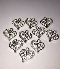 10 x Charms Pendant Heart Swirl love silver plated jewellery 14x14mm making DIY