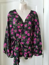 Black and Hot Pink, Purple  Floral Blouse Size 3 X