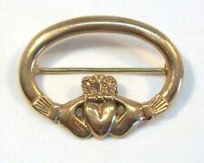Fine Vintage - 9K (375) Yellow Gold Irish CLADDAGH Hand & Heart Brooch 6.3 grams